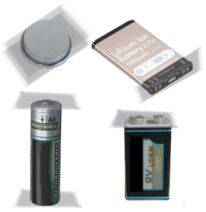 Four types of batteries, button, cell phone, AA and 9 volt