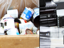 photo of a box of household hazardous waste and unwanted electronic equipment